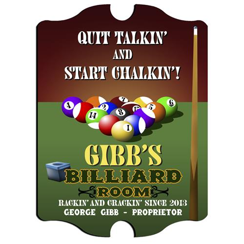 Vintage Series Personalized Signs  - BILLIARDS - GiftsEngraved