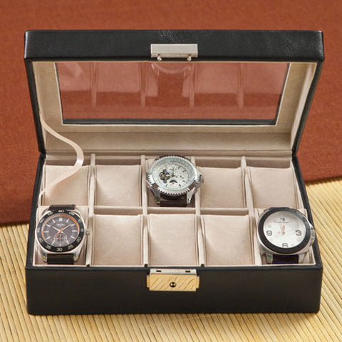 Personalized Leather Watch Box and Watch Case Free Engraving - GiftsEngraved