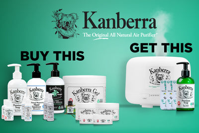 Kanberra Home Bundle Bonus Pack includes the following Tea Tree Oil products: premium soap, hand sanitizer alternative, kanberra oil, kanberra gel, kanberra oil diffuser, and more