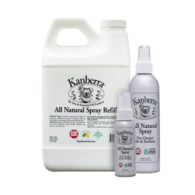 Kanberra All Natural Spray Refill 64 ounce container, made with certified pure tea tree oil, and two empty spray bottles