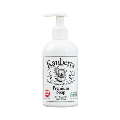 Kanberra Premium Soap made with certified pure tea tree oil, 7 ounce white container