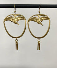 Vintage Brass Diving Bird Earrings