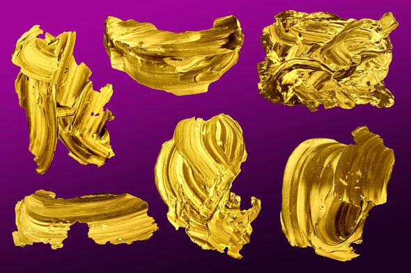 Golden Paint: Isolated Abstract Paint Textures-Chroma Supply