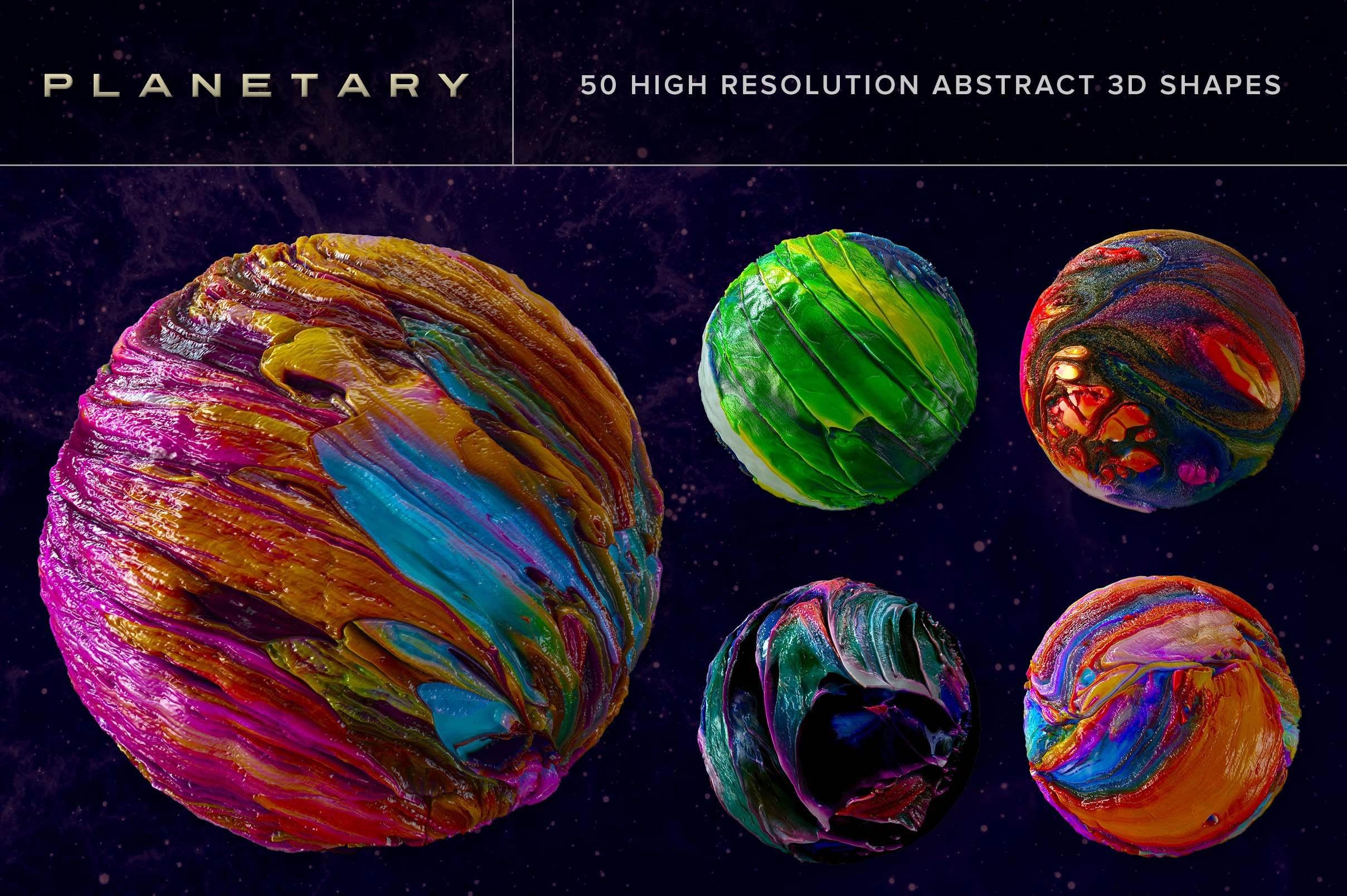 planetary 50 abstract 3d shapes chroma supply