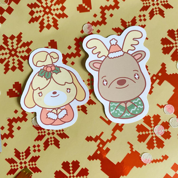 animal crossing isabelle holiday sticker