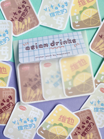 asian drinks sticker pack