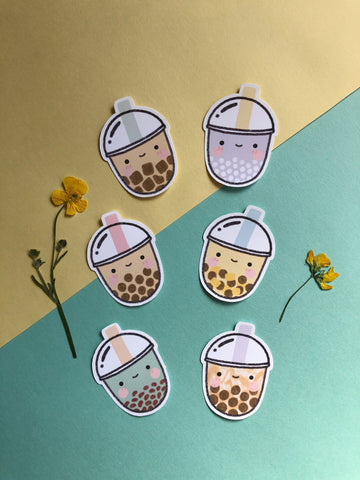 bubble tea sticker pack (6 stickers) - Hey Soosie
