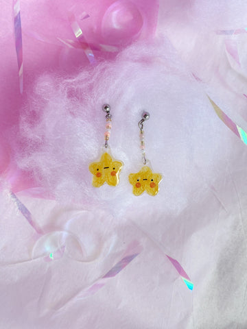 yellow star resin charm earrings - Hey Soosie