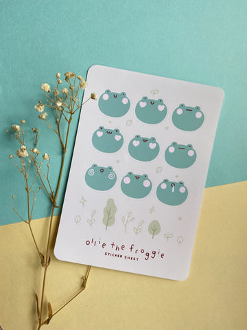 ollie the froggie sticker sheet - Hey Soosie