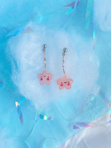 pink star resin charm earrings - Hey Soosie