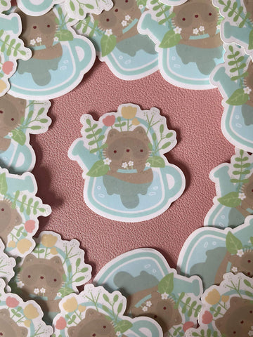 raccoon in watering can clear sticker - Hey Soosie
