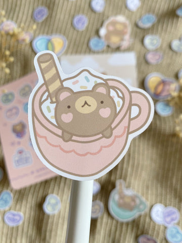 sweet bear in cup sticker