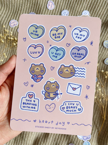 heart day/valentine's day themed sticker sheet