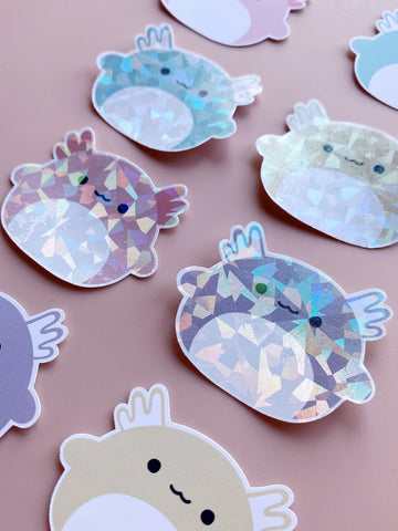holographic axolotl diecut stickers