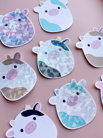 holographic cow stickers