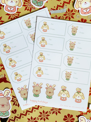 animal crossing holiday gift tag sticker sheet
