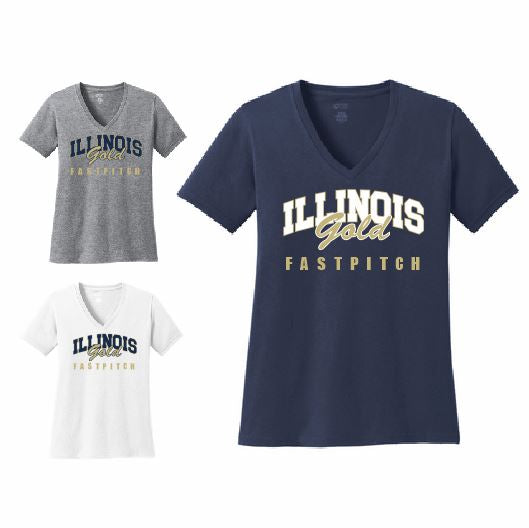 llinois Gold Fastpitch Ladies V-Neck T-Shirt - Customizable