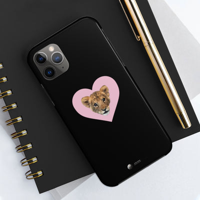 LION CUB PINK HEART IPHONE CASE