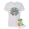 Coloring Lion Men V-Neck T-Shirt With Crayola Markers
