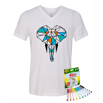 Coloring Elephant Men V-Neck T-Shirt With Crayola Markers