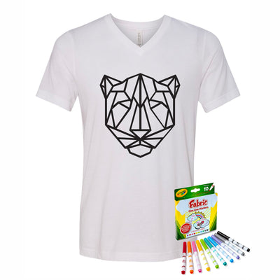 Coloring Jaguar Youth V-Neck T-Shirt With Crayola Markers
