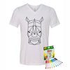Coloring Rhino Youth V-Neck T-Shirt With Crayola Markers
