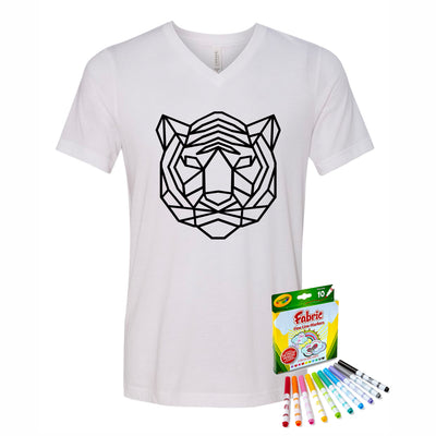 Coloring Tiger Youth V-Neck T-Shirt With Crayola Markers