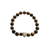 Tiger's Eye bracelet with separators and a Lion head both in .925 Sterling Silver