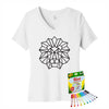 Coloring Lion Women V-Neck T-Shirt With Crayola Markers