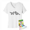 Coloring Cubs Women V-Neck T-Shirt With Crayola Markers
