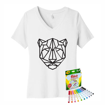 Coloring Jaguar Women V-Neck T-Shirt With Crayola Markers