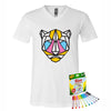 Coloring Jaguar Men V-Neck T-Shirt With Crayola Markers