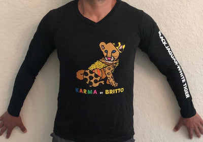 Limited Karma By Britto Long Sleeve V Neck T-Shirt