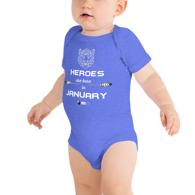 HEROES ARE BORN IN JANUARY - BABY T-Shirt