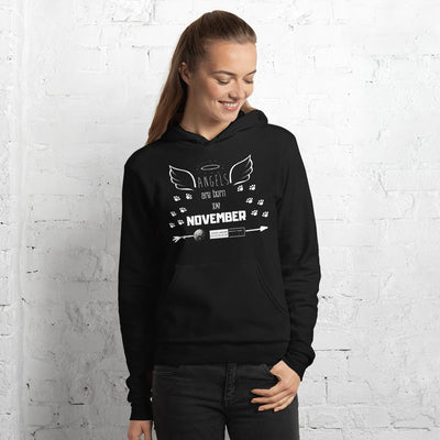 ANGELS are born in NOVEMBER - BLACK LABEL - Unisex hoodie