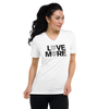LOVE MORE -  WHYTE COLLECTION - White Unisex Short Sleeve V-Neck T-Shirt