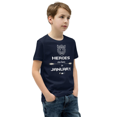 HEROES ARE BORN IN JANUARY - Youth Short Sleeve T-Shirt