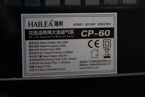 CP-60 Air Pump Specifications