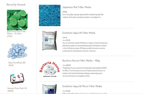 Range of filter media available at Kitsu Koi