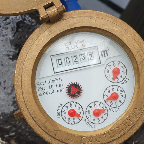 Water meter after filling koi ponds