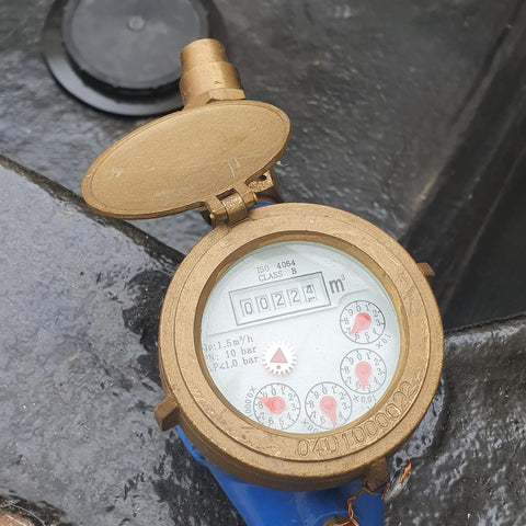 Water meter before filling koi ponds