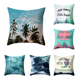 18inch Throw Pillow Case Mountains Sea Forest Scenery Peach Skin Cushion Cover