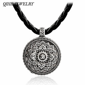 Ancient silver lotus flower necklace - spirited-gypsy.myshopify.com