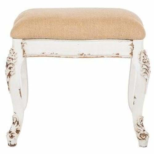Antique White Carved Leg Stool Stool