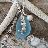 Beautiful Sterling Silver Pearl Charm and Seaglass Charm Necklace Mermaid Jewelry