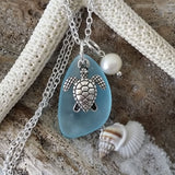 Beautiful Sterling Silver Pearl Charm and Seaglass Charm Necklace Turtle Jewelry