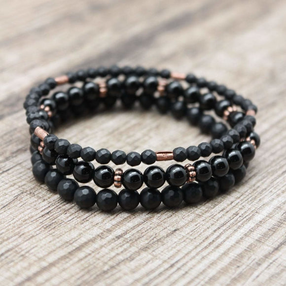 Black Onyx and Copper Stackable Bracelet's - spirited-gypsy.myshopify.com