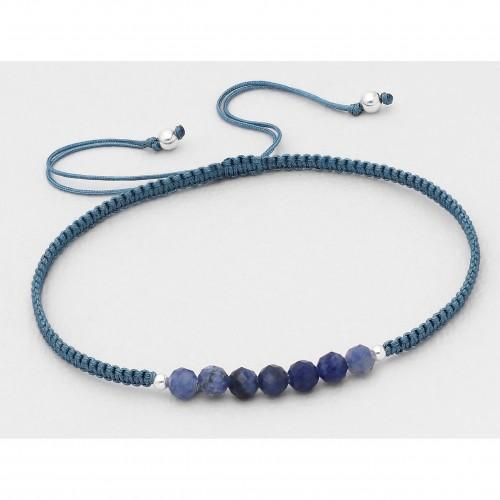 Azurite Bali Beaded Stone Adjustable Bracelet - Stone Blue