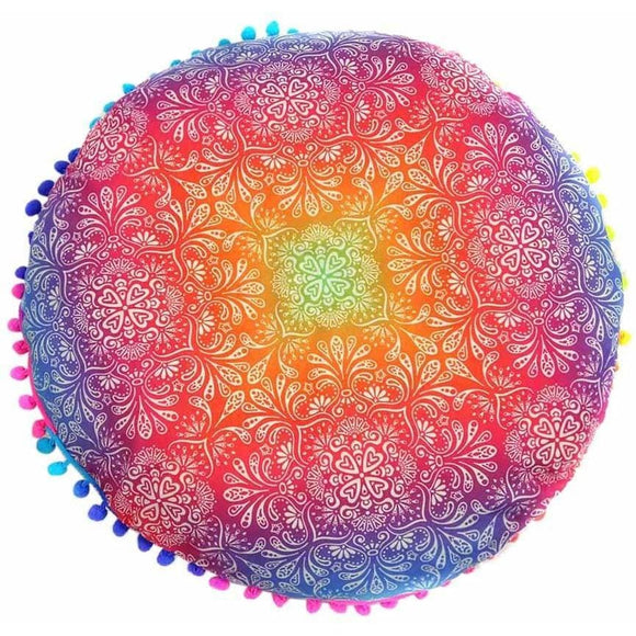 Bohemian Round Floor Pillow Cover Multicolor / A Pillow Cover
