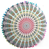 Bohemian Round Floor Pillow Cover Multicolor / D Pillow Cover